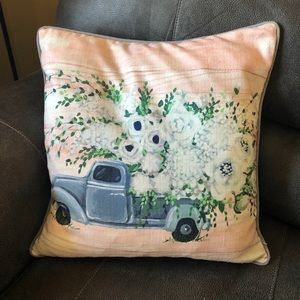 Truck w/ flowers decorative pillow